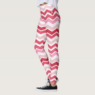 Valentine's Day Red & Pink Zigzag Leggings