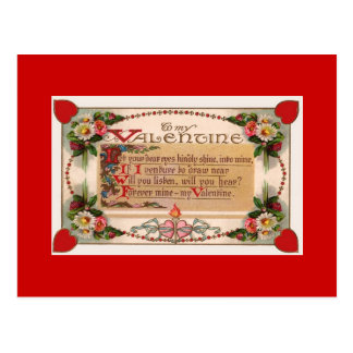 Valentine's Day Romantic Poem Postcard