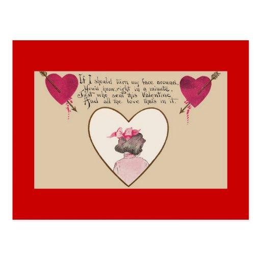 Valentine's Day Romantic Verse Hearts Postcard