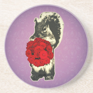 Valentines Day Rose funny squirrel Coasters
