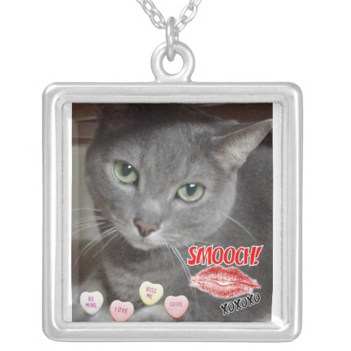Valentine's Day Russian Blue Gray Cat Necklace