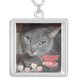 Valentine's Day Russian Blue Grey Cat Square Pendant Necklace