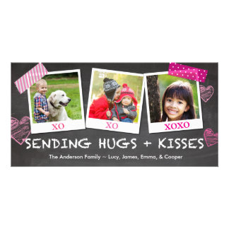 Valentine's Day Sending Hugs and Kisses Customized Photo Card