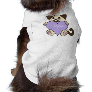 Valentine's Day Siamese Cat - Light Purple Heart Sleeveless Dog Shirt