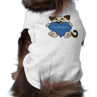 Valentine's Day Siamese Cat with Blue Heart Sleeveless Dog Shirt