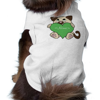 Valentine's Day Siamese Cat with Green Heart Sleeveless Dog Shirt