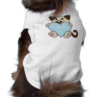 Valentine's Day Siamese Cat with Light Blue Heart Sleeveless Dog Shirt