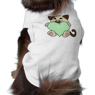 Valentine's Day Siamese Cat with Light Green Heart Sleeveless Dog Shirt