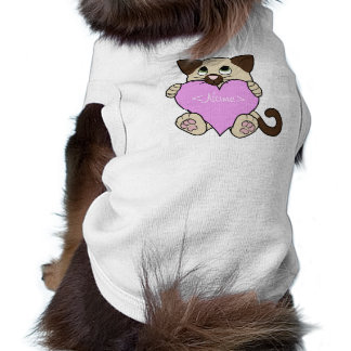 Valentine's Day Siamese Cat with Light Pink Heart Sleeveless Dog Shirt