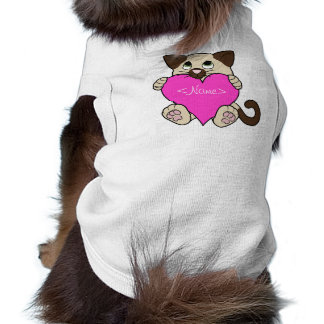 Valentine's Day Siamese Cat with Pink Heart Sleeveless Dog Shirt