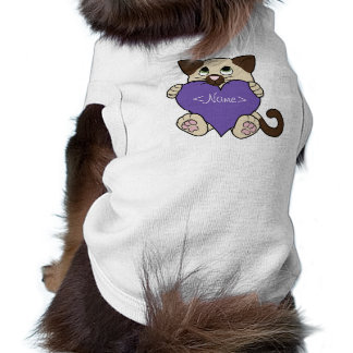 Valentine's Day Siamese Cat with Purple Heart Sleeveless Dog Shirt