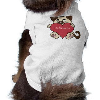 Valentine's Day Siamese Cat with Red Heart Sleeveless Dog Shirt