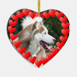 Valentine's Day Siberian Husky ornament