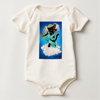 Valentine's Day Smokey Grey Cupid Cat Baby Bodysuit