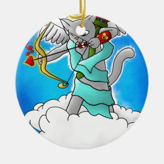 Valentine's Day Smokey Grey Cupid Cat Christmas Ornament