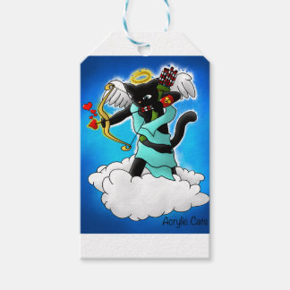 Valentine's Day Smokey Grey Cupid Cat Gift Tags