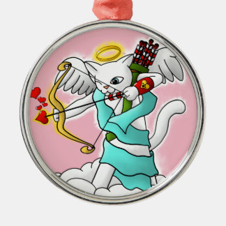 Valentine's Day Snow White Cupid Cat Christmas Ornament