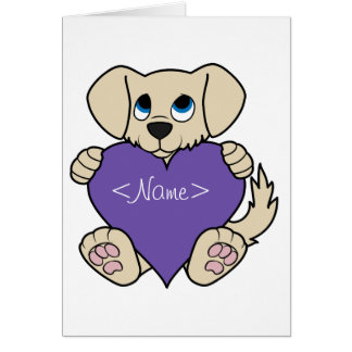 Valentine's Day Tan Puppy Dog with Purple Heart Card