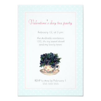 Valentines Day Tea Party Pink Blue Polka Dot Girly 13 Cm X 18 Cm Invitation Card
