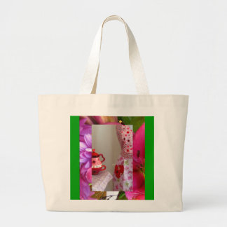 Valentine's Day Teacups and Flowers Large Tote Canvas Bags