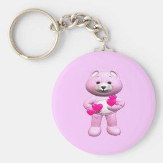 Valentine's Day Teddy Bear Basic Round Button Key Ring
