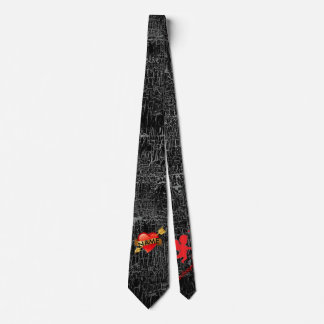 Valentines Day Tie YOUR NAME Heart & Cupid Black
