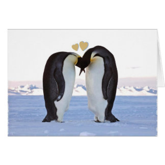 Valentine's Day, Two Penguins in Love, Hearts Greeting Card