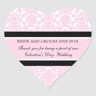 Valentine's Day Wedding Favor Tags Pink Damask Heart Sticker