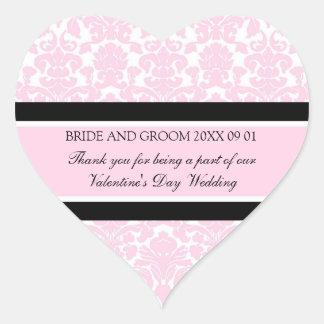 Valentine's Day Wedding Favor Tags Pink Damask Heart Sticker