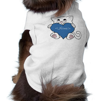 Valentine's Day White Cat with Blue Heart Sleeveless Dog Shirt