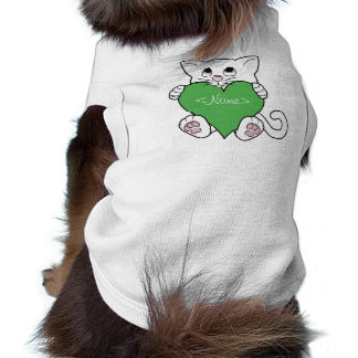 Valentine's Day White Cat with Green Heart Sleeveless Dog Shirt