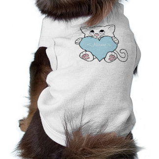 Valentine's Day White Cat with Light Blue Heart Sleeveless Dog Shirt