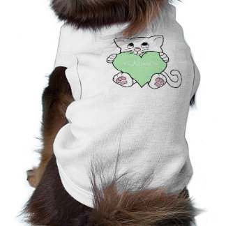 Valentine's Day White Cat with Light Green Heart Sleeveless Dog Shirt