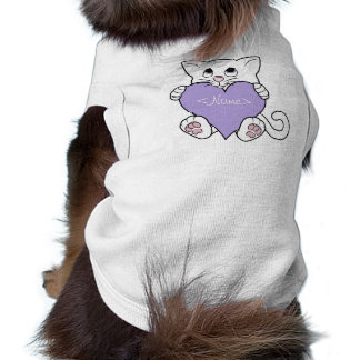 Valentine's Day White Cat with Light Purple Heart Sleeveless Dog Shirt