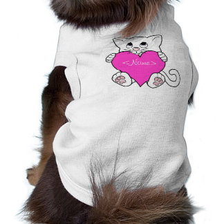 Valentine's Day White Cat with Pink Heart Sleeveless Dog Shirt