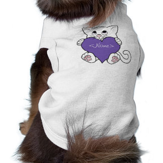 Valentine's Day White Cat with Purple Heart Sleeveless Dog Shirt