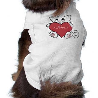 Valentine's Day White Cat with Red Heart Sleeveless Dog Shirt