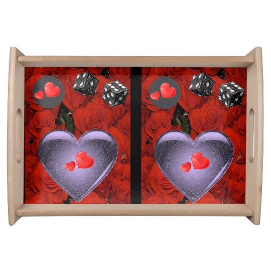 Valentines day white red hearts serving tray