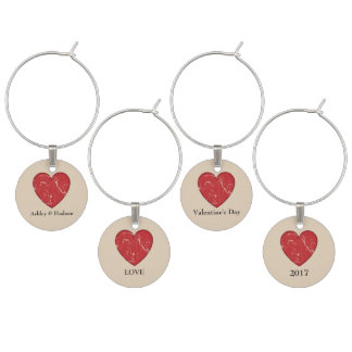 Valentine's Day Wine Charms Personalised