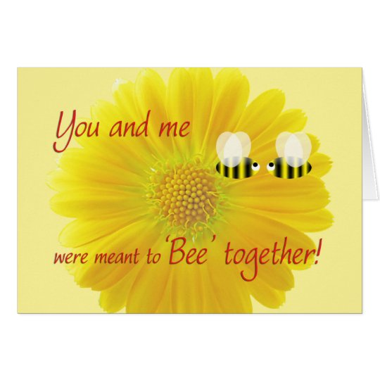 Valentine's Day with Bees and a yellow daisy Card