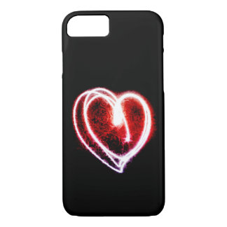 Valentine's Day with glowing red heart iPhone 8/7 Case