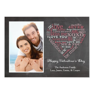 Valentine's Day Word Heart 1 Photo 13 Cm X 18 Cm Invitation Card