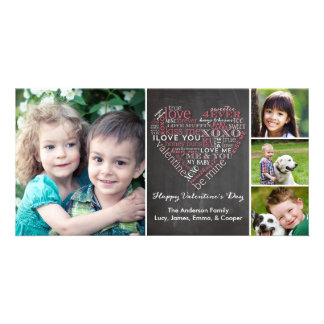 Valentine's Day Word Heart Customised Photo Card