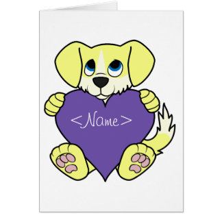 Valentine's Day Yellow Dog -Blaze & Purple Heart Greeting Card