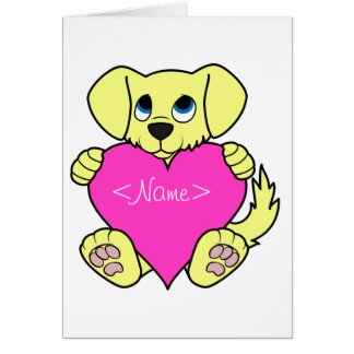 Valentine's Day Yellow Dog with Pink Heart Greeting Card