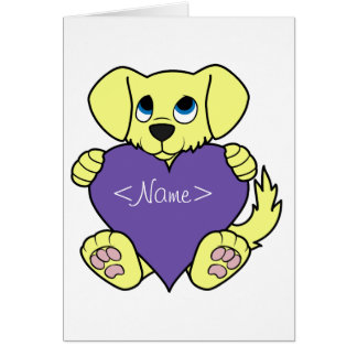 Valentine's Day Yellow Dog with Purple Heart Greeting Card