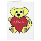 Valentine's Day Yellow Dog with Red Heart Card