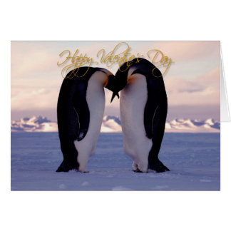 Valentines emperor penquins kissing card