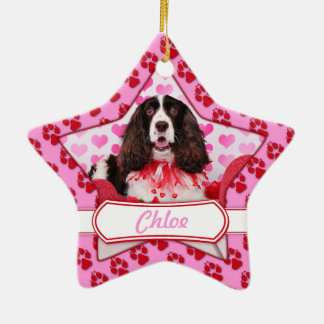 Valentines - English Springer Spaniel - Chloe Double-Sided Star Ceramic Christmas Ornament