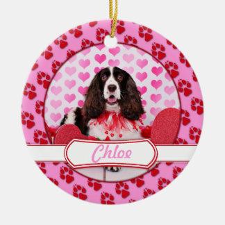 Valentines - English Springer Spaniel - Chloe Christmas Ornament